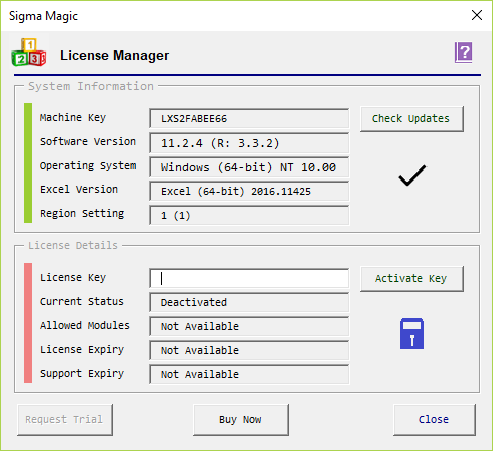 License Manager | Help | Sigma Magic